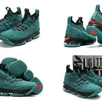 How To Buy 20172018 LBJ 15 Nike Christmas Sport Turquoise Black Red Brand sneaker
