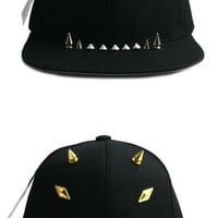Hip-Hop Cap Studs Spikes Spiky Punk Studded Mens Womens Hat Golf KPOP Black