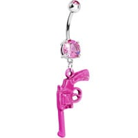 Pink Gem Revolver Dangle Belly Ring