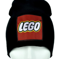 Red Yellow Block Lego Beanie Alternative Clothing Knit Cap