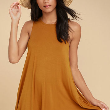 RVCA Sucker Punch 2 Rust Orange Swing Dress