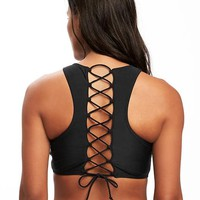 Lace-Back Cropped Bikini Top for Women | Old Navy
