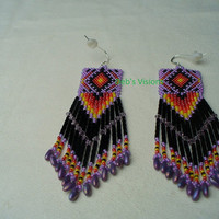 Native American Style Brick stitched earrings in Lavender,Black and Fire Colors
