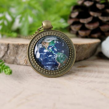 Earth Bronze Pendant | Antique Bronze Pendant | Glass Cabochon | Space Jewelry | Pendant with Chain | Handmade Jewelry | Custom Design