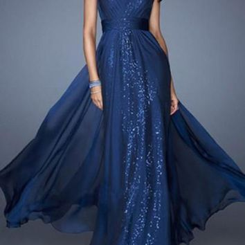 Blue Sequin Bridesmaid Prom Evening Party V-neck Party Chiffon Maxi Dress