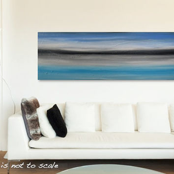 Large 48 x 16 Original Abstract Landscape Textured Painting - Blue, Cobalt, Grey, White - Modern Contemporary Wall Art Decor - FREE SHIPPING