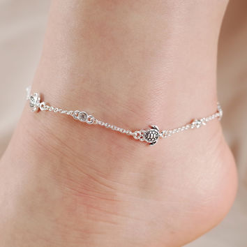 Turtle and Crystal Stone Chain Link Anklet