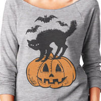 Halloween Black cat Bats Pumpkin Off the Shoulder womens Sweatshirt party sweater graphic raglan t shirt