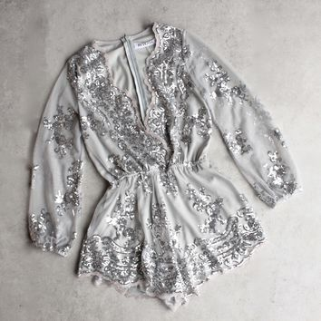 reverse - life of the party sequin romper - silver