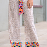 Stained Glass Palazzo Pant,Taupe