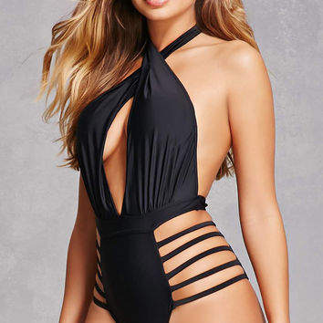 Caged Halter One-Piece Swimsuit