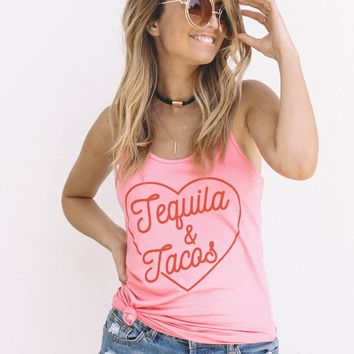 Pink Tequila & Tacos Racerback Tank