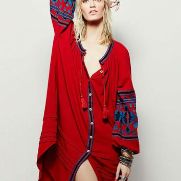 Bohemia Embroidery Lights Tassels Vacation Dress One Piece Dress [6158983684]