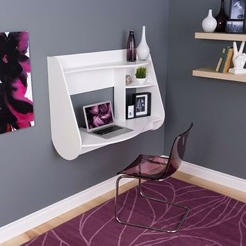 White Modern Wall-Mount Laptop Computer Desk in White