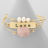 Stone Plate Love Gold Bangle Bracelet