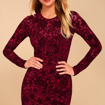 Cor-Set to Go Wine Red Burnout Velvet Print Dress