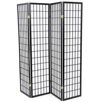 Black 4-Panel Asian Style Shoji Room Divider Screen
