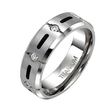 Men Women Couples Solid Titanium Cz Wedding Band Engagement Ring