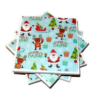 Merry Christmas, Santa, Reindeer, Sleigh, Presents Christmas Scene Ceramic Coasters, Set of Four