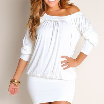 Plain White Tunic Round Neck Long Sleeves Club Dresses