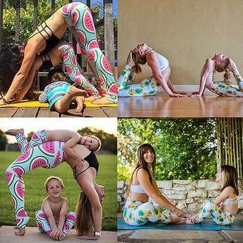Enjoy Yoga Kinship Family Clothes Mother Baby Kid Gym Running Sports Yoga Fitness Leggings Fruits Printed Most Popular Style