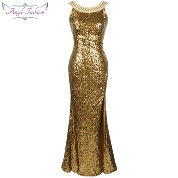 Sequined Gatsby Party Gown Backless Split Long Evening Dress