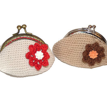 Crochet coin purse  / Beige coin purse  / Red Flower coin purse / Beige Crochet accessories
