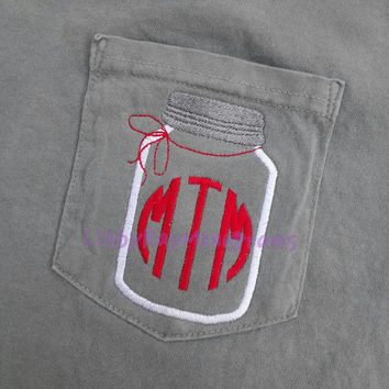 Mason jar Monogrammed Pocket Comfort Colors T-shirt Women's
