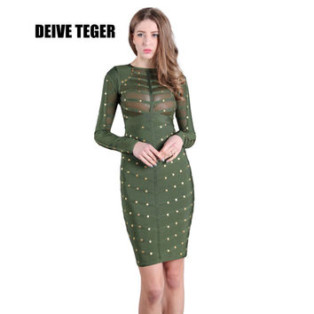 DEIVE TEGER  Women's sexy long sleeve mesh 5 COLORS green rivet Dress studded olive mesh high neck black bodycon Dresses HL1844