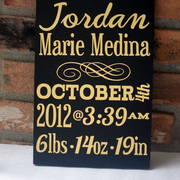 Customizable Personalized Baby Newborn Birth Stats Wooden Sign