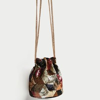 SEQUINNED MINI BUCKET BAGDETAILS