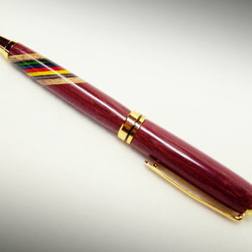 Purple Heart Wood Designer Style Pen with Rainbow Birch inlay.