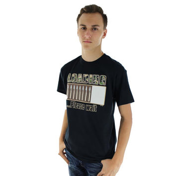 Mens Black Short Sleeve T Shirt With Loading Please Wait Bullets