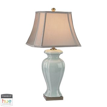 Celadon Table Lamp in Glazed Green Ceramic/Antique Brass Accents - with Philips Hue LED Bulb/Bridge
