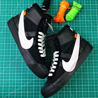 Off White X Nike Blazer Studio Black White Mid Sneakers - Best Online Sale