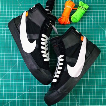 Off White X Nike Blazer Studio Black White Mid Sneakers - Best Online Sale a3583cc9b