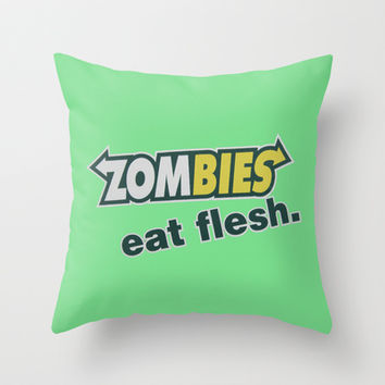 Zombie Eat flesh Throw Pillow by Wood-n-Images