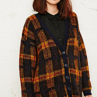 Cooperative Tartan Cardigan in Yellow - Urban Outfitters