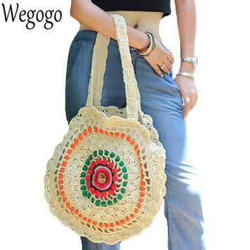Women Straw Handbag Colorful Pompon Beach Bag Embroidered Summer Travel Bag Crochet Indian Hippie Boho Sweet Woven Shoulder Bag