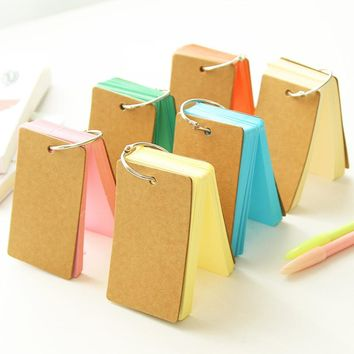 1PCS Cute Candy Color Blank Kraft Paper Memo Pads Portable Notepads Words Cards Kids Gift Stationery School Supplies