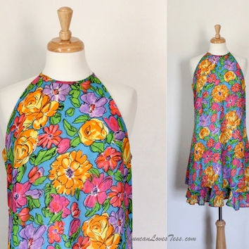 Vintage 80's Dress / Hawaiian Inspired Tent Dress / Floral Print / Resort Garden Party Frock / Spring Summer / 80s Fashion