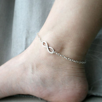 Infinity anklet.  Silver chain Tibetan victorian key. Ready to ship Infinity symbol. Choose color