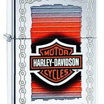 Personalized Zippo Harley-Davidson Chain Lustre High Polish Chrome Wind Proof Oil Lighter Free Engraving. (29559)