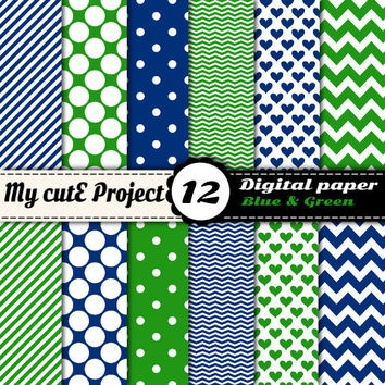Digital paper pack - Blue and Green  - Instant Download - Scrapbooking & graphic design - 12x12 - A4 - Polka dots, heart, chevron