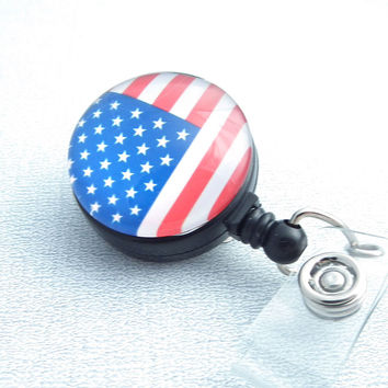 Flag Magnetic Retractable ID Badge Reel for the 4th of July