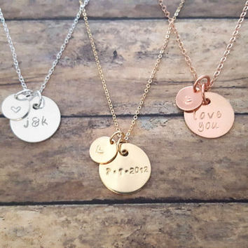 Personalized Initial Necklace, Custom Date Necklace, I Love You Pendant, Sterling Silver, Gold Filled, Rose Gold Filled Jewelry