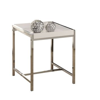 White Acrylic / Chrome Metal Accent Table