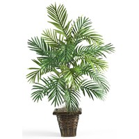 Silk Flowers -Areca Palm With Wicker Basket Floor Artificial Plant