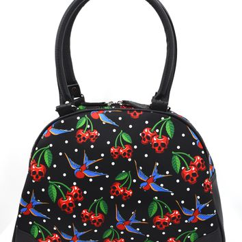 Liquorbrand Skull Cherry Cherry Skulls Tattoo Swallows Bowling Bag Purse Handbag