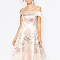 Chi Chi London Off shoulder Midi Dress In Allover Cherry Blossom
